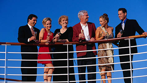 Group of People on Deck of Cruise Ship